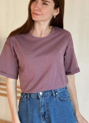 Базовая футболка оверсайз лилового цвета