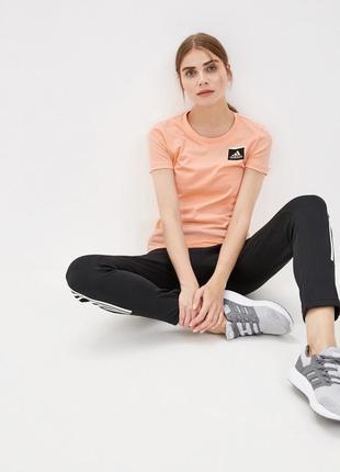 Футболка adidas оригинал яркая 100% коттон персиковая