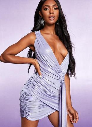 Boohoo. товар из англии. блестящее платье с шикарной драпировкой