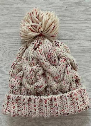Шапка жіноча, рожева гапка, біла шапка, зимова шапка, тепла ша...