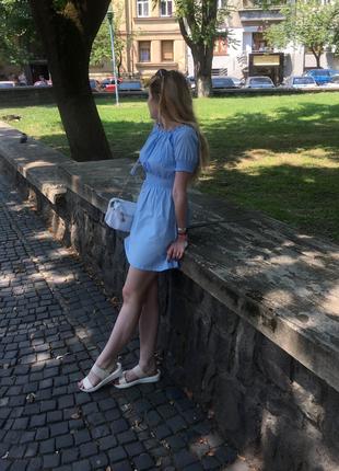 Супер платье голубого цвета коттон летнее небесного цвета