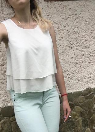 Шифоновая летняя блуза молочного цвета