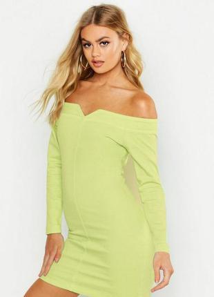 Boohoo. товар из англии. джинсовое платье с открытыми плечами ...