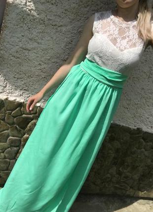 Красивое платье в пол легкое шифоновое