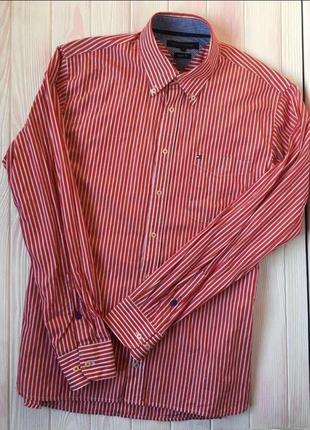 Фирменная рубашка в полоску tommy hilfiger новая хлопок
