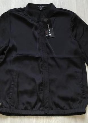 Новая женская тонкая чёрная летняя куртка ветровка пиджак наки...