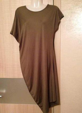 Платье миди асимметрия цвета хаки