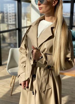 Пальто / тренч с эко кожи