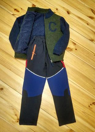 Комплект вещей на мальчика-кофта-куртка меховушка m&s и штаны,...