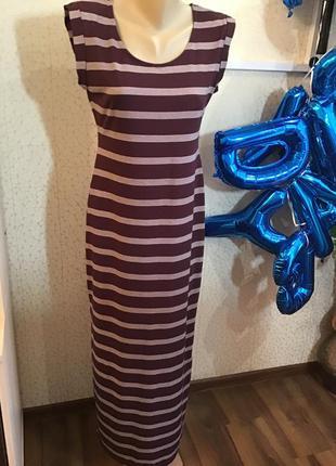 Распродажа! стильное платье в полоску винного цветар р.46-48