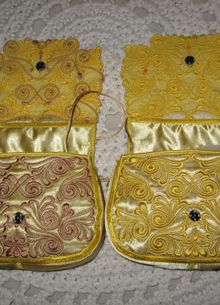 Клатч золотой, модный акцент, желтый с вышивкой
