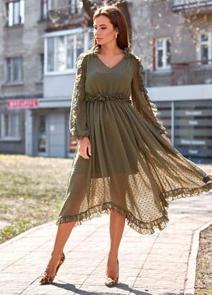 Платье шифоновое с рюшами цвета хаки