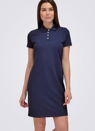 Платье поло короткое, темно-синее