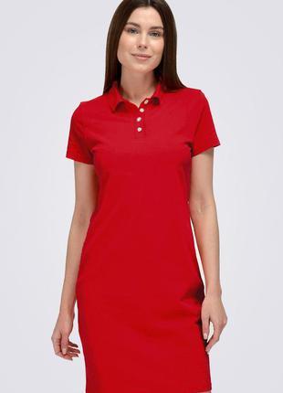 Платье поло короткое, красное