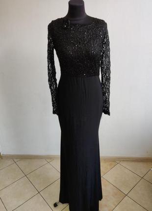 Черное вечернее платье с сетчатый топом в паетки
