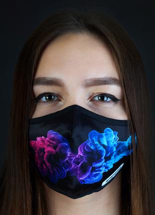 Тканевая двухслоная маска с сетчатым карманом под вкладыш (smoke)