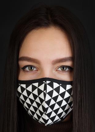 Тканевая двухслоная маска с сетчатым карманом под вкладыш (Rhomb)