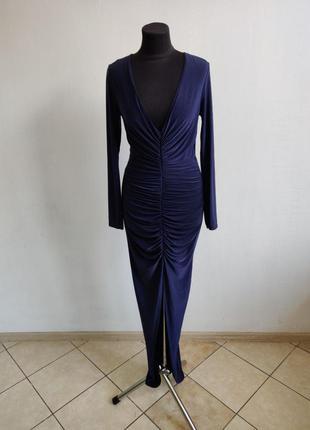 Распродажа до 30 июня 🔥  темно синие платье со стяжками и разр...
