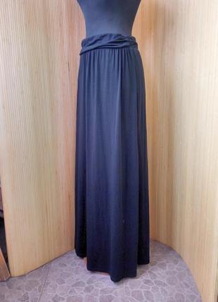 Чёрная трикотажная юбка макси с поясом резинкой jean pascale