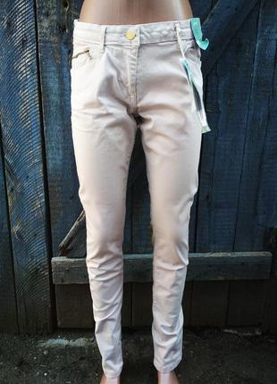 Бежевые джинсы скинни с биркой