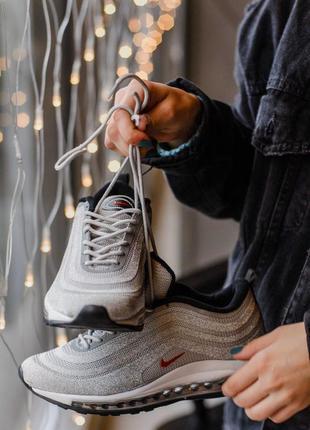 Nike air max 97 swarovski silver серые ♦ женские кроссовки ♦ в...