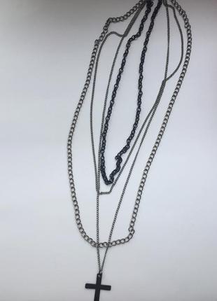 Колье, ожерелье, подвеска, кулон хрест, серебристая подвеска.