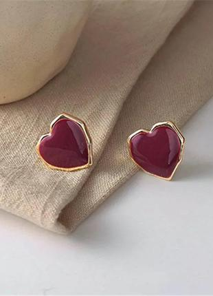 Серьги  сердечки эмаль