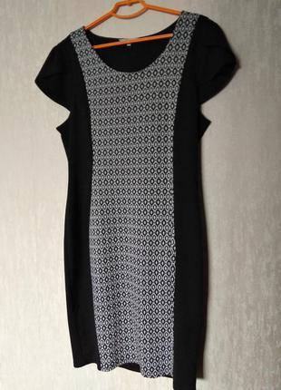 Трикотажное платье синее принт 16-18 размер 48-50 размер
