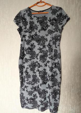 Трикотажно платье по колено, платье футболка 16-18 размер