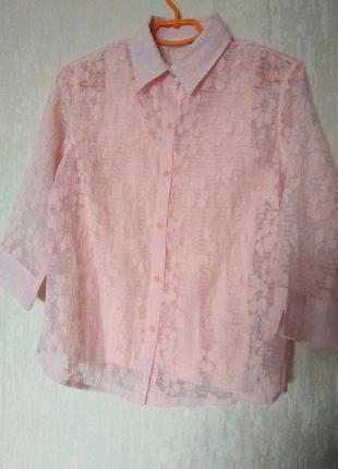 Блузка рубашка с длинным рукавом 14-16 размер 46-48 размер