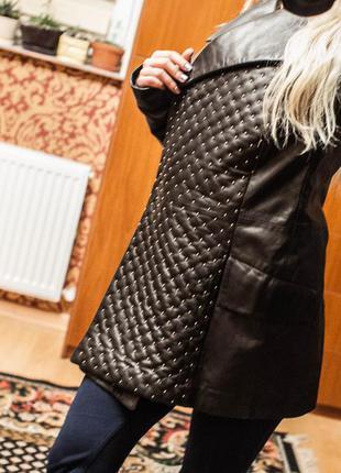 Итальянский кожаный кардиган-пальто женский
