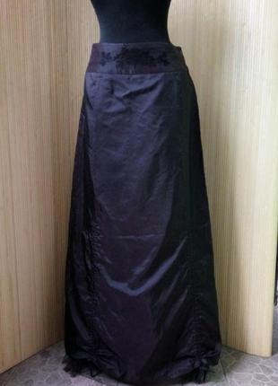 Атласная юбка макси с фатином / с вышивкой fransa ml