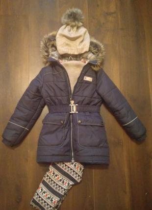 Зимняя куртка для девочки lenne 128-140 см