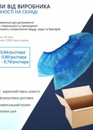 Хіт Продаж! Безкоштовна Доставка Медичних Бахіл (2500 Пар=Ящик)