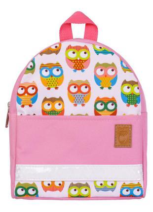 Детский рюкзак непромокаемый  совы розовый