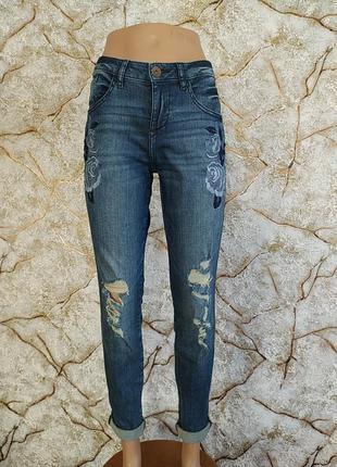 Оригинал guess рвание джинси скинни с дирками джинси с вишивкой
