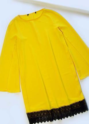 Желтое  свободное платье с длинным рукавом