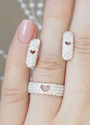 Набор серебро 925 кольцо и серьги 41043 21088