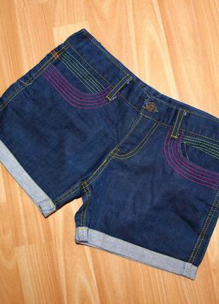 Супер / джинсовые шорты короткие синие с разноцветными строчками