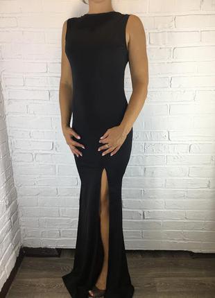 Длинное платье макси в пол с открытой спиной