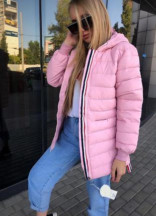 Куртка евро зима  розовая с манжетами