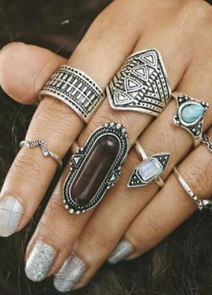 Набор колец 8 штук ( кольцо синий камень, бирюза, большое коль...