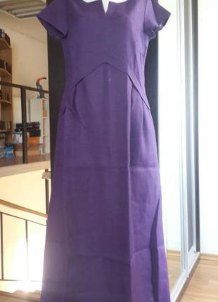 Летнее платье из льна season в стиле бохо фиолет