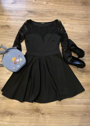🖤 платье пышная юбка с гипюровым рукавом