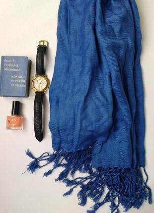 Шарф синий качественный тонкий палантин куплен в dutyfree Dubai