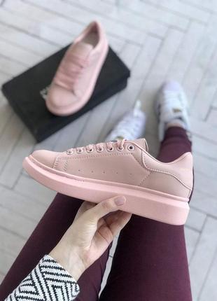 Шикарные женские кроссовки alexander mcqueen в розовом цвете (...