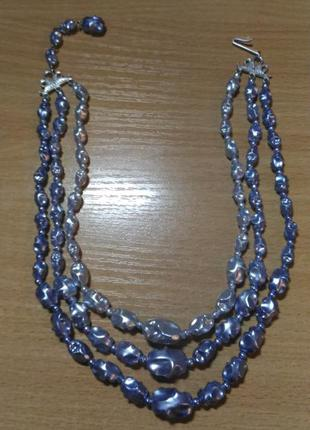 Колье, ожерелье с бусинами лилового цвета