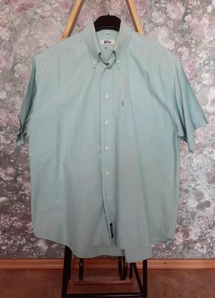 Рубашка lee cooper 100% коттон лен голубая англия с коротким р...