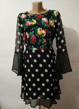 Платье в горохи новое цветочное красивое с открытой спинкой as...
