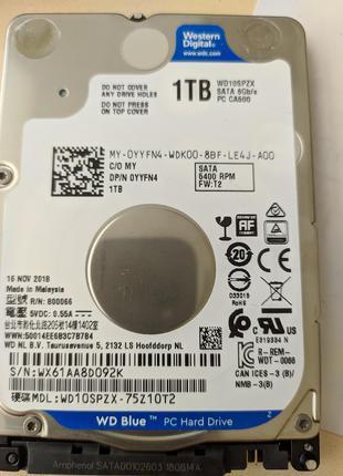 """Жесткие диски WD Blue 1Тб 2.5"""" (WD10SPZX), кеш 128 Мб, быстрые."""